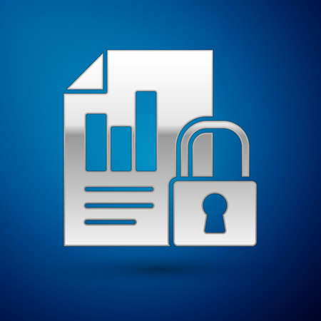 Silver Document and lock icon isolated on blue background. File format and padlock. Security, safety, protection concept. Vector Illustration.