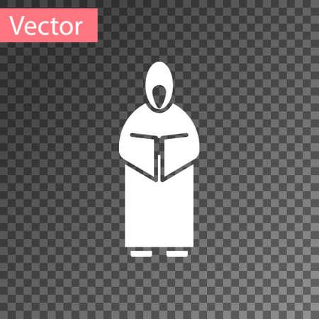 White Monk icon isolated on transparent background. Vector Illustration. 向量圖像