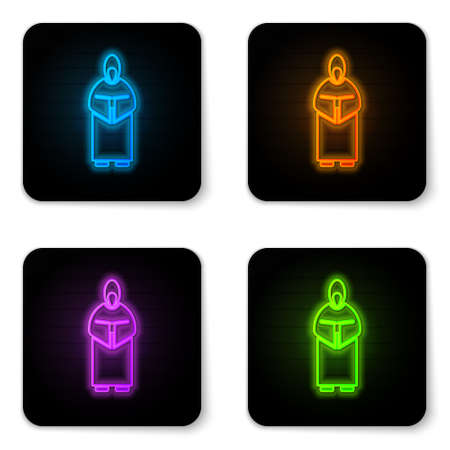 Glowing neon Monk icon isolated on white background. Black square button. Vector Illustration.