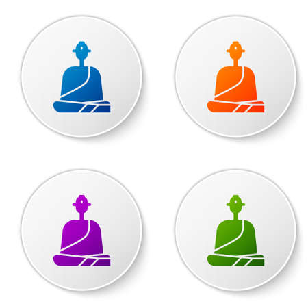 Color Buddhist monk in robes sitting in meditation icon isolated on white background. Set icons in circle buttons. Vector Illustration.