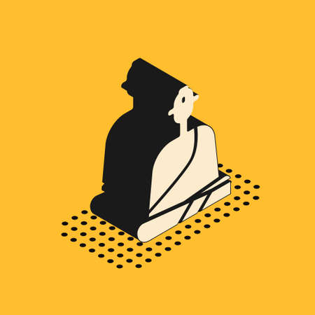 Isometric Buddhist monk in robes sitting in meditation icon isolated on yellow background. Vector Illustration.