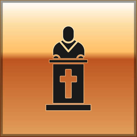 Black Church pastor preaching icon isolated on gold background. Vector Illustration.