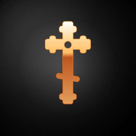 Gold Christian cross icon isolated on black background. Church cross. Vector Illustration.