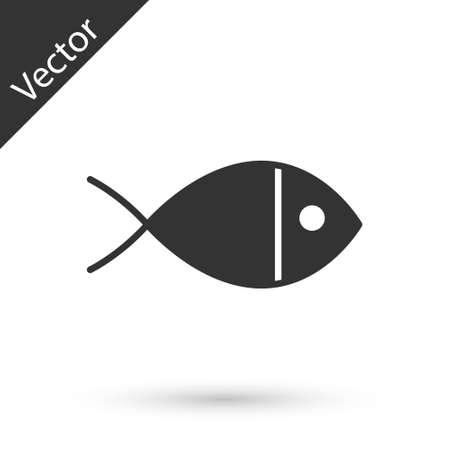 Gray Christian fish symbol icon isolated on white background. Jesus fish symbol. Vector Illustration.