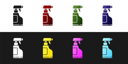 Set Cleaning spray bottle with detergent liquid icon isolated on black and white background. Vector Illustration.