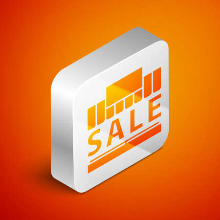 Isometric Shopping building or market store icon isolated on orange background. Supermarket sale concept. Silver square button. Vector Illustration.