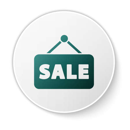Green Hanging sign with text Sale icon isolated on white background. Signboard with text Sale. White circle button. Vector Illustration.