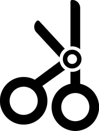 Black Medical scissors icon isolated on white background. Vector Illustration. Illusztráció