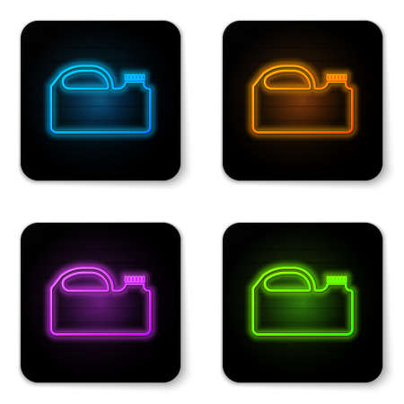 Glowing neon Plastic canister for motor machine oil icon isolated on white background. Oil gallon. Oil change service and repair. Black square button. Vector Illustration.