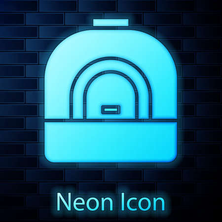Glowing neon Oven icon isolated on brick wall background. Stove gas oven sign. Vector Illustration.