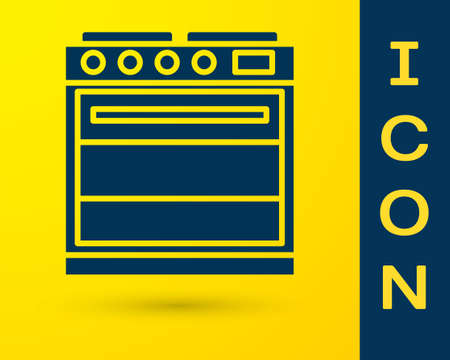 Blue Oven icon isolated on yellow background. Stove gas oven sign. Vector Illustration. 일러스트