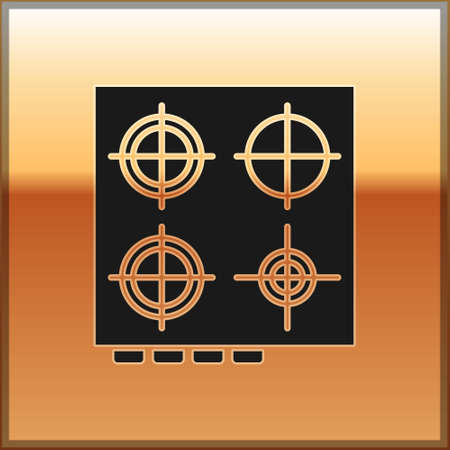 Black Gas stove icon isolated on gold background. Cooktop sign. Hob with four circle burners. Vector Illustration.