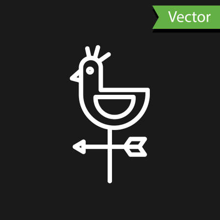 White line Rooster weather vane icon isolated on black background. Weathercock sign. Windvane rooster. Vector Illustration.