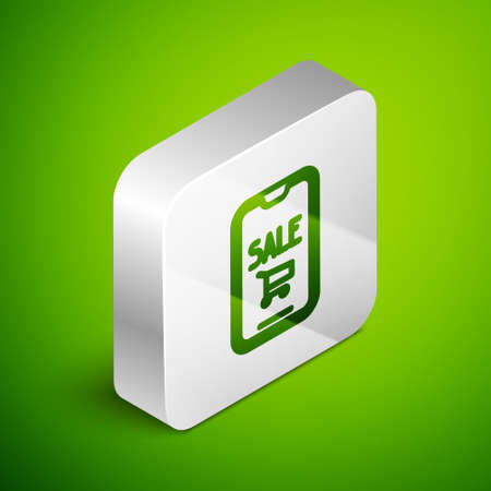 Isometric line Mobile phone and shopping cart icon isolated on green background. Online buying symbol. Supermarket basket symbol. Silver square button. Vector Illustration.