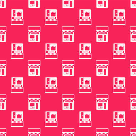 White line Shopping building or market store icon isolated seamless pattern on red background. Shop construction. Vector Illustration. Stock Illustratie