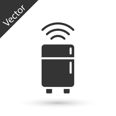 Grey Smart refrigerator icon isolated on white background. Fridge freezer refrigerator. Internet of things concept with wireless connection. Vector.