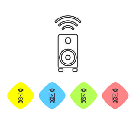 Grey line Smart stereo speaker system icon isolated on white background. Sound system speakers. Internet of things concept with wireless connection. Set icons in color rhombus buttons. Vector. Illusztráció