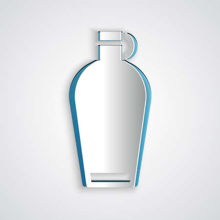Paper cut Canteen water bottle icon isolated on grey background. Tourist flask icon. Jar of water use in the campaign. Paper art style. Vector.