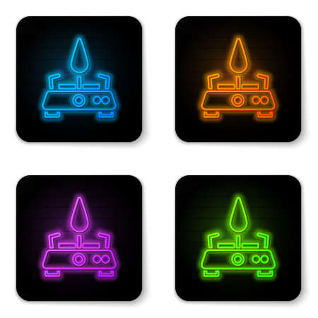 Glowing neon Camping gas stove icon isolated on white background. Portable gas burner. Hiking, camping equipment. Black square button. Vector 일러스트