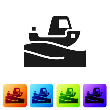 Black Fishing boat on water icon isolated on white background. Set icons in color square buttons. Vector.