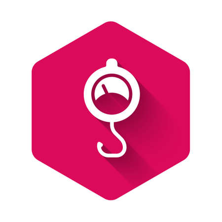 White Spring scale icon isolated with long shadow. Balance for weighing. Determination of weight. Pink hexagon button. Vector.