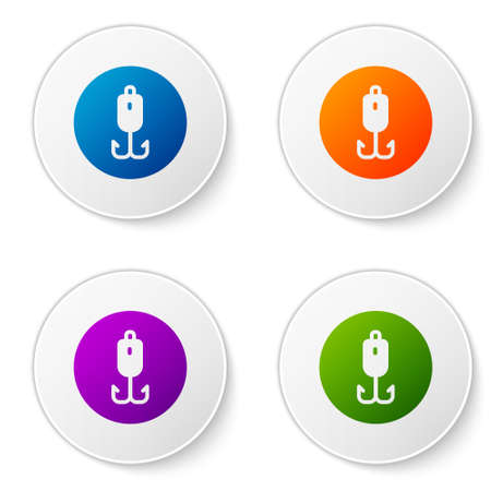 Color Fishing hook icon isolated on white background. Fishing tackle. Set icons in circle buttons. Vector.