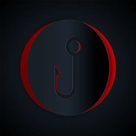Paper cut Fishing hook icon isolated on black background. Fishing tackle. Paper art style. Vector.