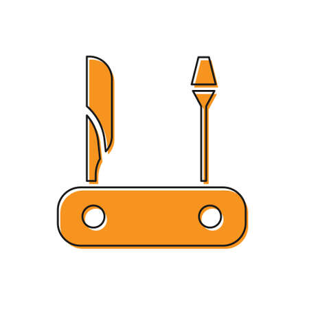 Orange Swiss army knife icon isolated on white background. Multi-tool, multipurpose penknife. Multifunctional tool. Vector. Illusztráció