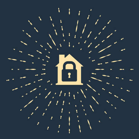 Beige House under protection icon isolated on blue background. Home and lock. Protection, safety, security, protect, defense concept. Abstract circle random dots. Vector.