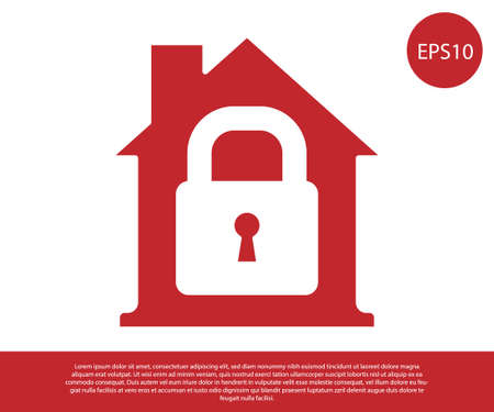 Red House under protection icon isolated on white background. Home and lock. Protection, safety, security, protect, defense concept. Vector. Illustration
