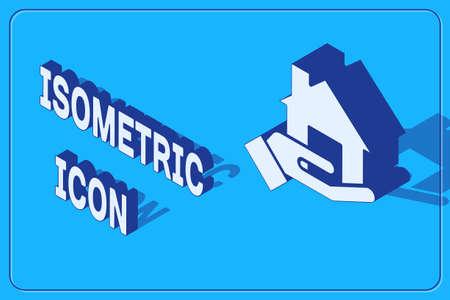 Isometric Realtor icon isolated on blue background. Buying house. Vector Illustration
