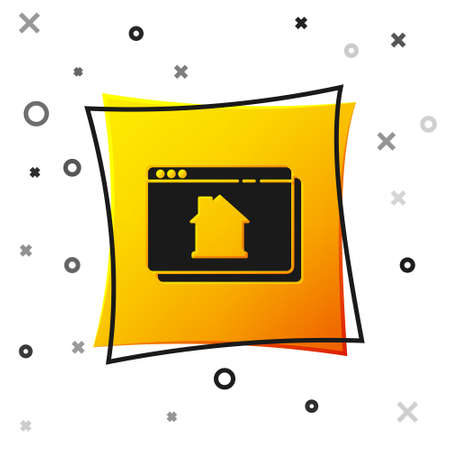 Black Online real estate house in browser icon isolated on white background. Home loan concept, rent, buy, buying a property. Yellow square button. Vector