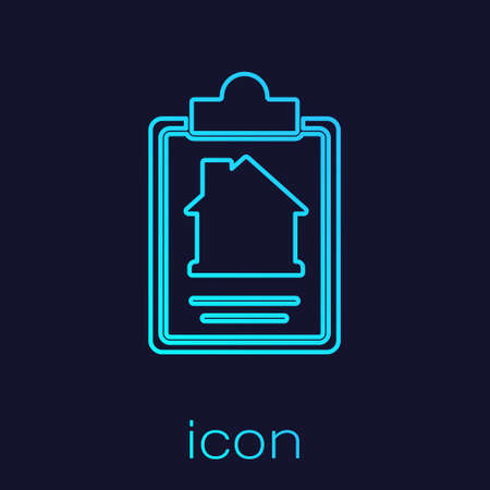 Turquoise line House contract icon isolated on blue background. Contract creation service, document formation, application form composition. Vector. Illustration