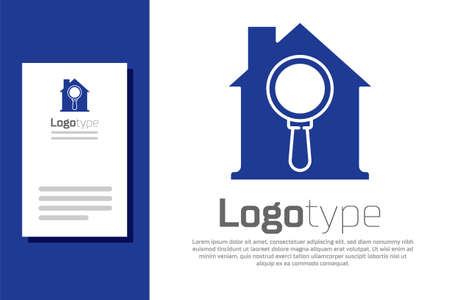 Blue Search house icon isolated on white background. Real estate symbol of a house under magnifying glass.