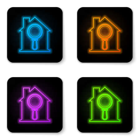 Glowing neon Search house icon isolated on white background. Real estate symbol of a house under magnifying glass. Black square button. Vector.