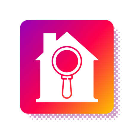 White Search house icon isolated on white background. Real estate symbol of a house under magnifying glass. Square color button. Vector.