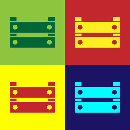 Pop art Wooden box icon isolated on color background. Grocery basket, storehouse crate. Empty wooden container for vegetables, products. Vector Illusztráció