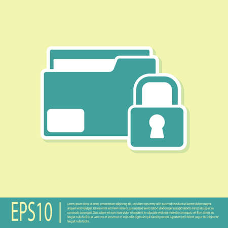 Green Folder and lock icon isolated on yellow background. Closed folder and padlock. Security, safety, protection concept. Vector