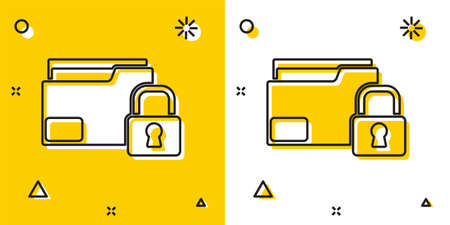 Black Folder and lock icon isolated on yellow and white background. Closed folder and padlock. Security, safety, protection concept. Random dynamic shapes. Vector