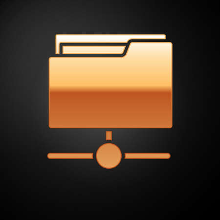 Gold FTP folder icon isolated on black background. Software update, transfer protocol, router, teamwork tool management, copy process, info. Vector.