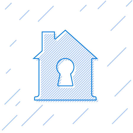 Blue line House under protection icon isolated on white background. Home and shield. Protection, safety, security, protect, defense concept. Vector Illustration