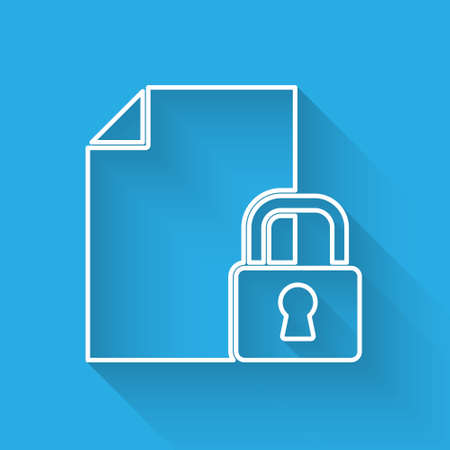 White line Document and lock icon isolated with long shadow. File format and padlock. Security, safety, protection concept. Vector.