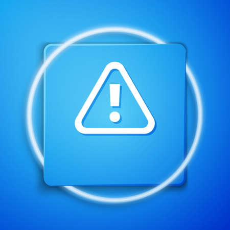 White Exclamation mark in triangle icon isolated on blue background. Hazard warning sign, careful, attention, danger warning sign. Blue square button. Vector.