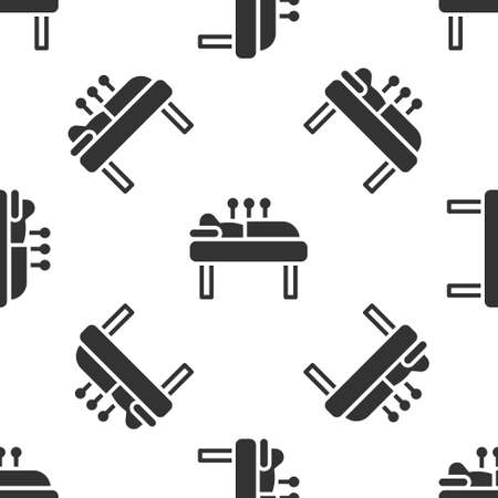 Grey Acupuncture therapy icon isolated seamless pattern on white background. Chinese medicine. Holistic pain management treatments.  Vector. Illustration