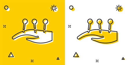 Black Acupuncture therapy on the hand icon isolated on yellow and white background. Chinese medicine. Holistic pain management treatments. Random dynamic shapes. Vector Illustration