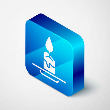 Isometric Aroma candle icon isolated on gray background. Blue square button. Vector.