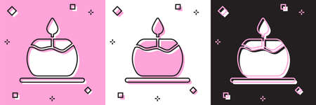 Set Aroma candle icon isolated on pink and white, black background. Vector.