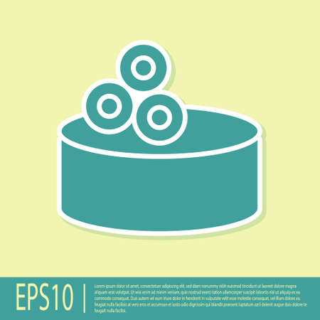 Green Tin can with caviar icon isolated on yellow background. Vector.