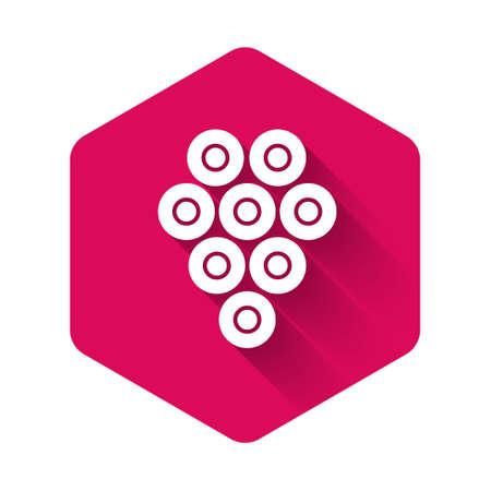 White Caviar icon isolated with long shadow. Pink hexagon button. Vector .. Illusztráció