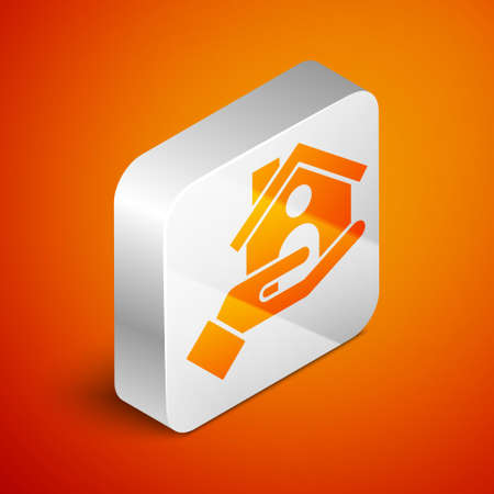 Isometric House insurance icon isolated on orange background. Security, safety, protection, protect concept. Silver square button. Vector ..